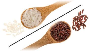 Biłay ryż kontra brązowy - ilustracja