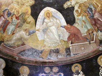 Bizantyjski fresk przedstawiający Zmartwychwstanie