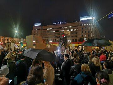 Blokada na rondzie de Gaulle'a w Warszawie