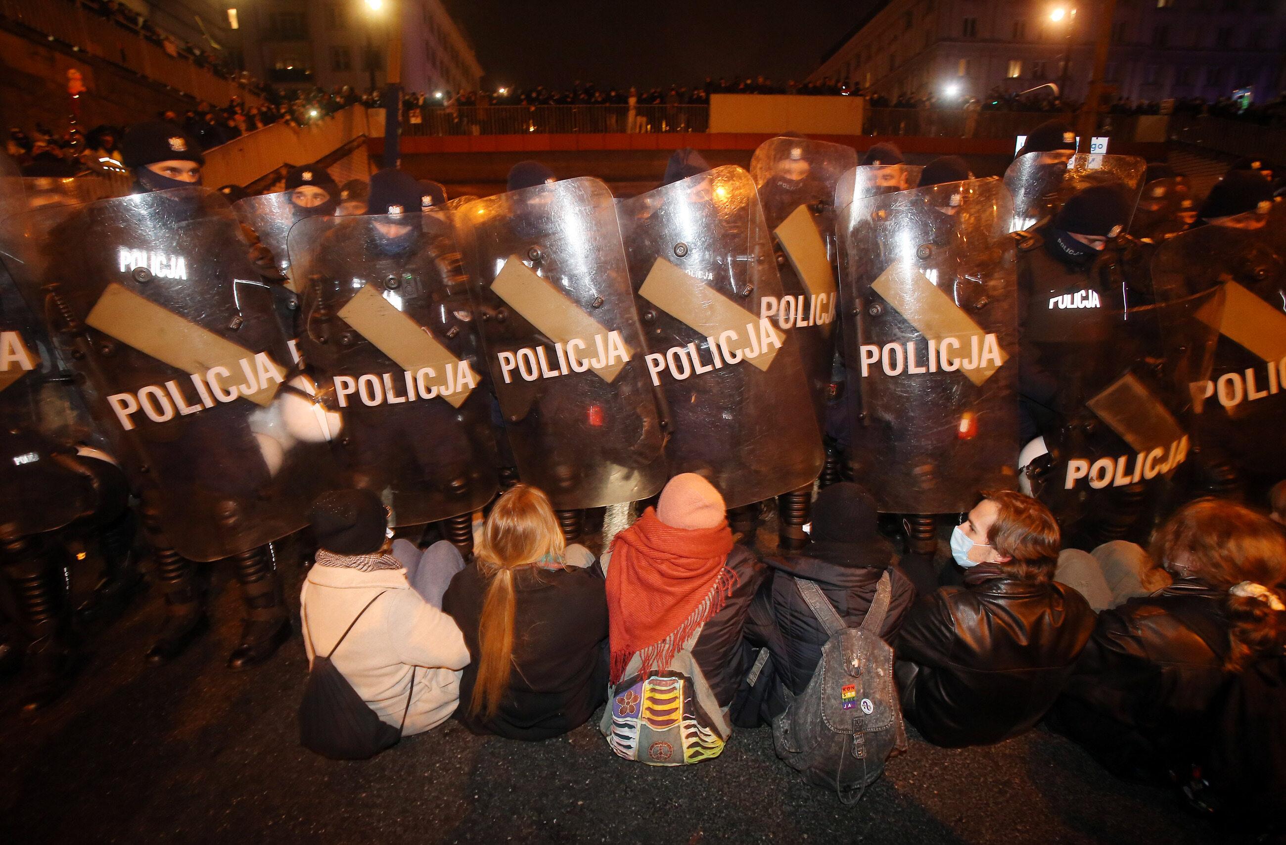 Blokada Trasy Łazienkowskiej w Warszawie, fot. A.Majdański/Newspix