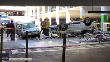 BMW spadło z trzeciego piętra parkingu