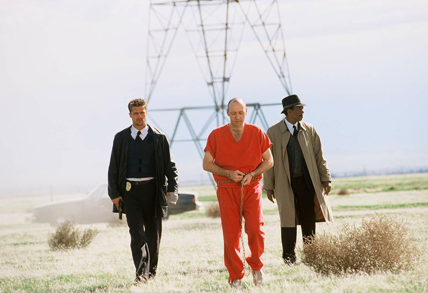 "Brad Pitt, Morgan Freeman i Kevin Spacey w ""Siedem"""