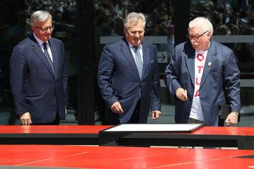 Bronisław Komorowski, Aleksander Kwaśniewski i Lech Wałęsa