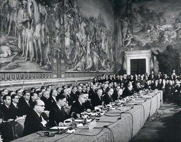 Ceremonia podpisania Traktatów Rzymskich, 25 marca 1957 roku