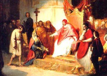 Cesarz Henryk IV przed papieżem Grzegorzem VII