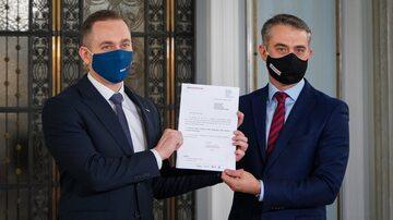 Cezary Tomczyk i Krzysztof Gawkowski z wnioskiem o wotum nieufności dla Jarosława Kaczyńskiego