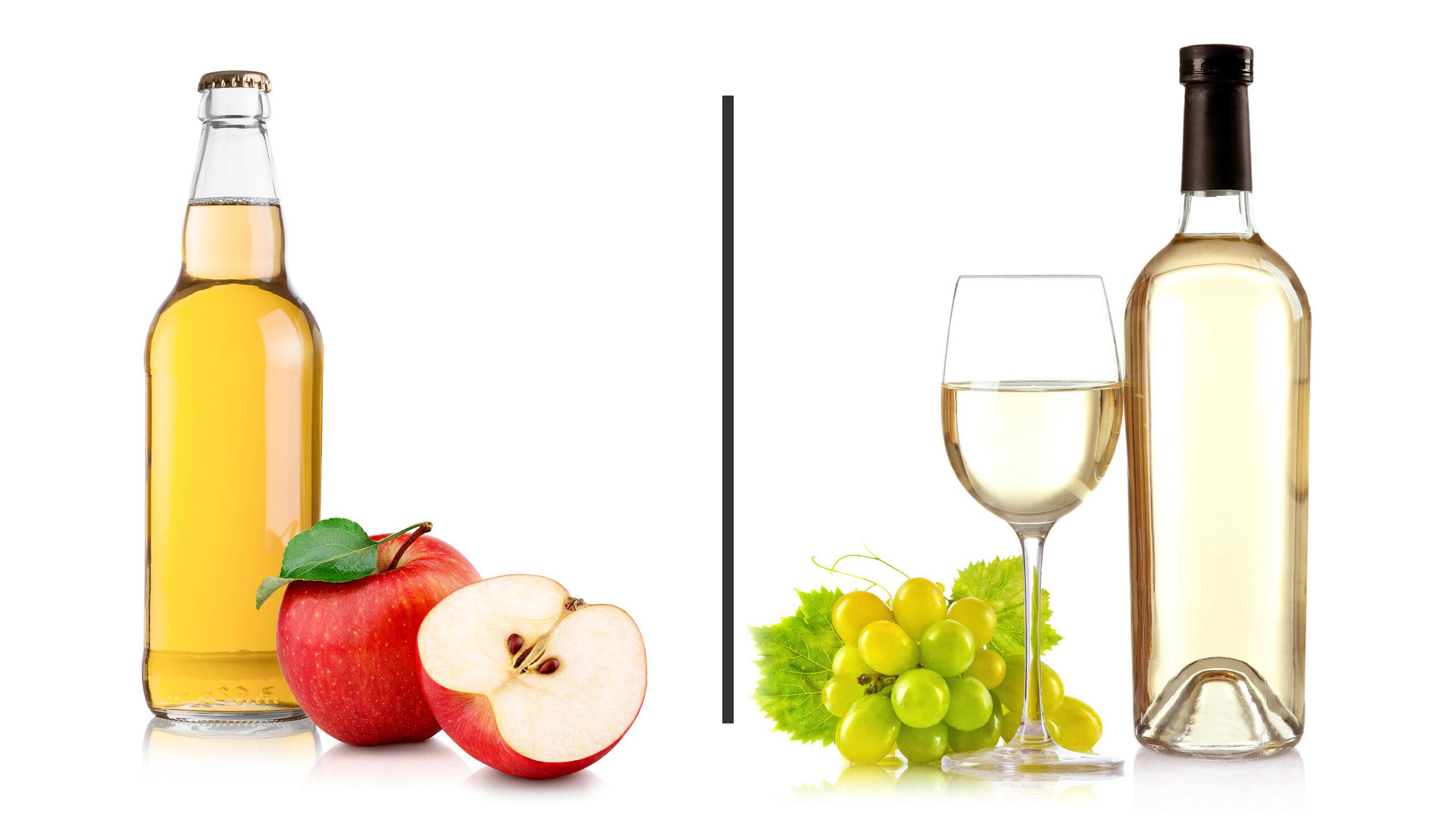 Cydr kontra białe wino - ilustracja