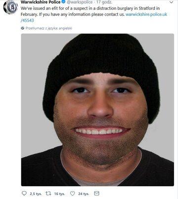 Cyfrowy portret pamięciowy sporządzony przez policję w Warwickshire