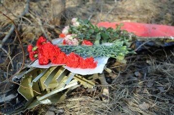 Czerwone goździki na fragmencie wraku TU-154 po katastrofie pod Smoleńskiem