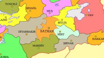 Część Turcji z Batmanem na mapie
