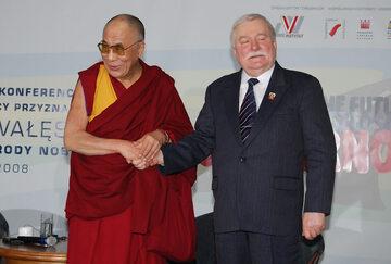 Dalajlama XIV i Lech Wałęsa w 2008 r.