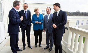 David Cameron, Barack Obama, Angela Merkel, Francois Hollande i Matteo Renzi