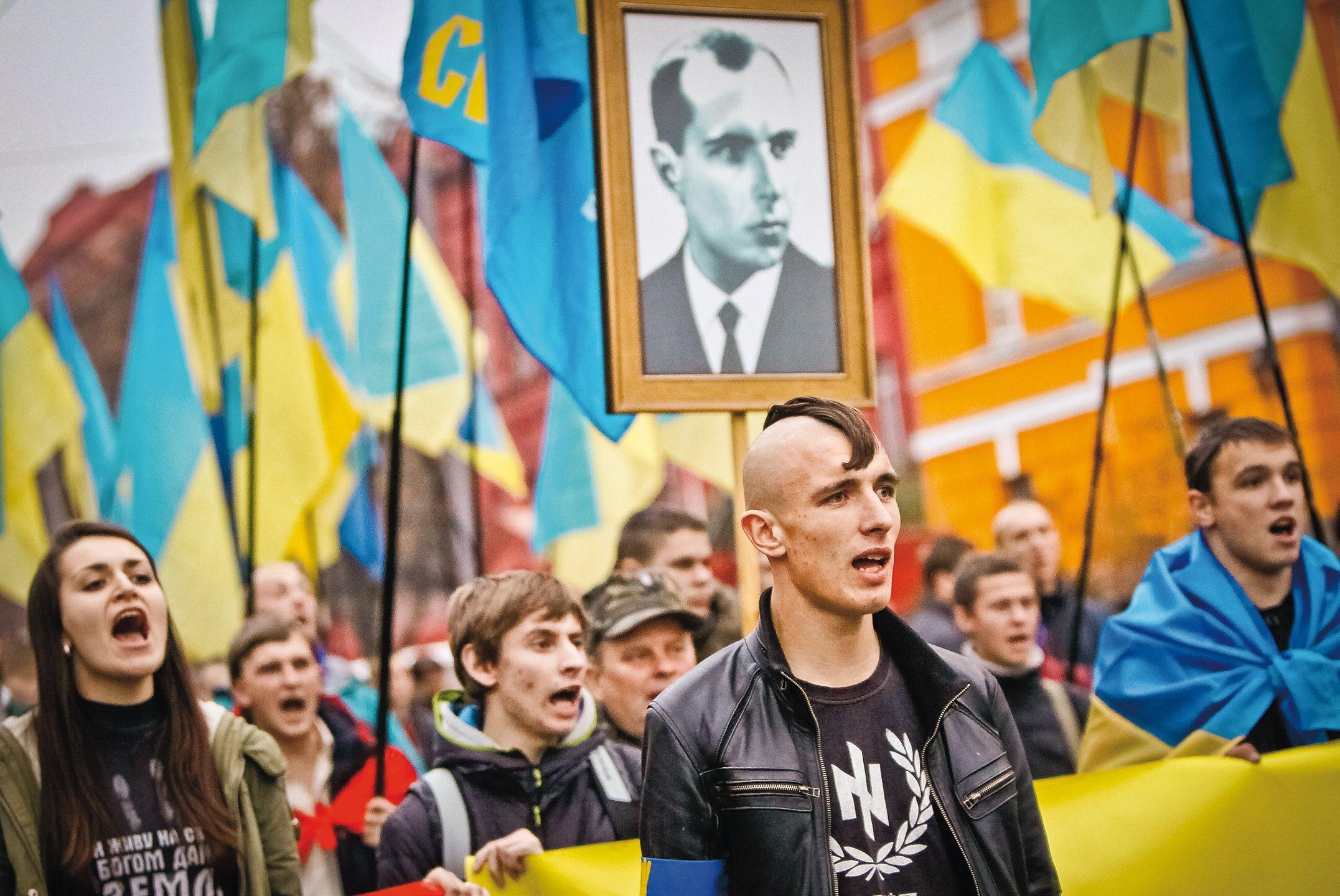 Demonstracja ukraińskich nacjonalistów w Kijowie