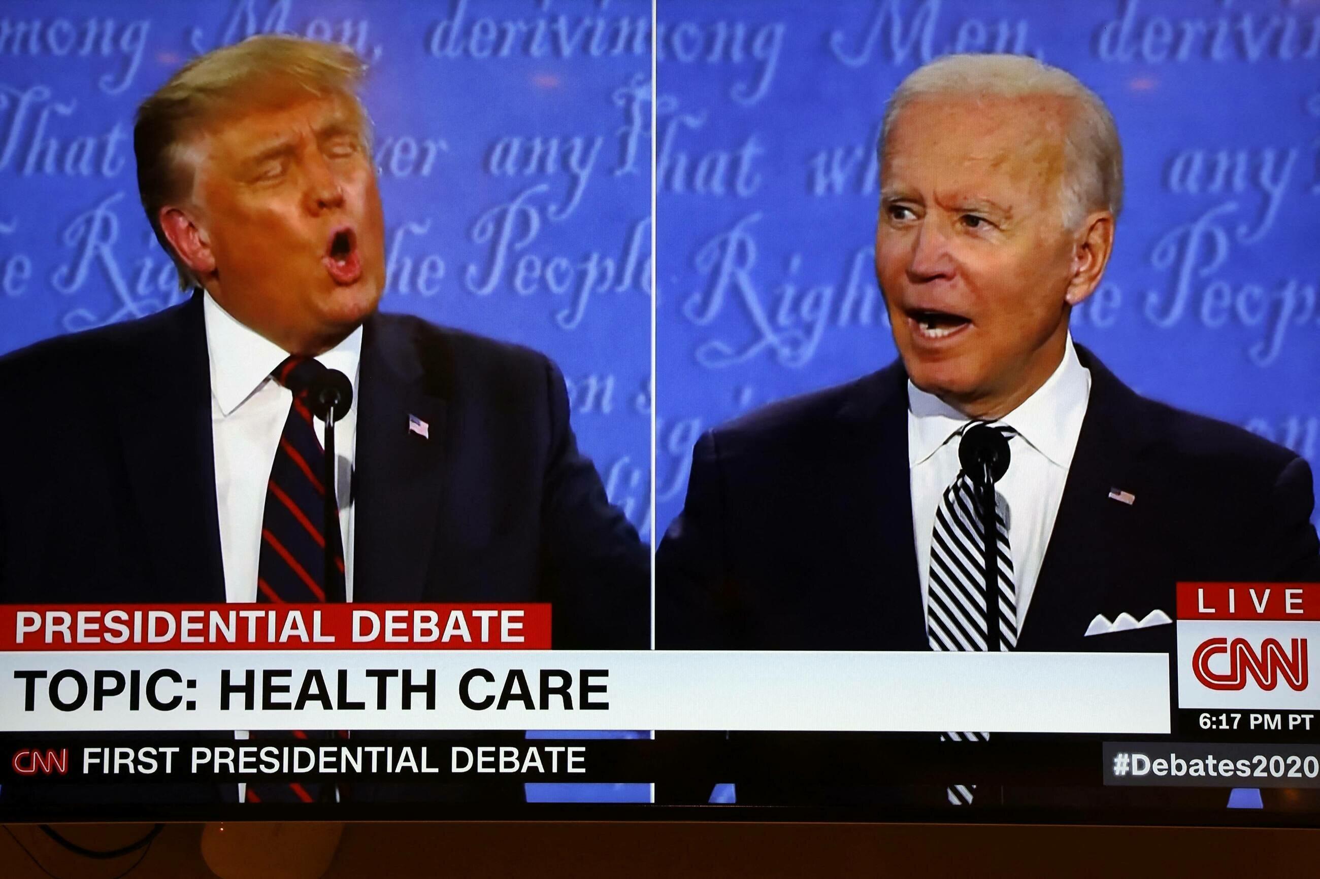 Donald Trump i Joe Biden w czasie debaty