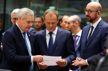 Donald Tusk, Antti Rinne i Charles Michel