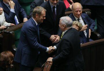 Donald Tusk i Jarosław Kaczyński w 2014 roku