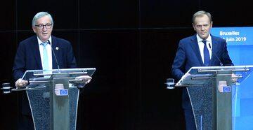 Donald Tusk i Jean-Claude Juncker na konferencji prasowej