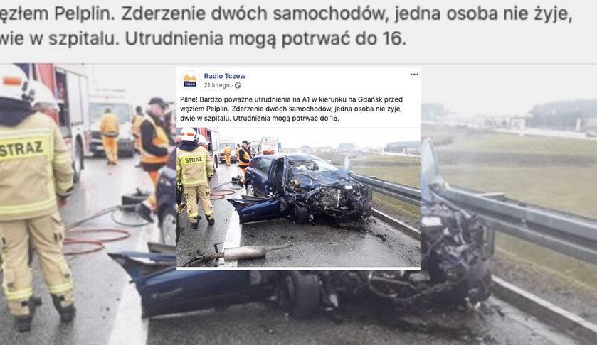 Doniesienia o wypadku na A1