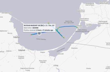 Dziwna trasa rosyjskiego okrętu (za Marine Traffic)