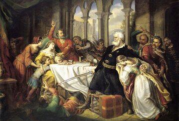 Elżbieta Łokietkówna z mężem Karolem Robertem w czasie zamachu Felicjana Zacha na XIX-wiecznym obrazu Somy Orlai Petricha