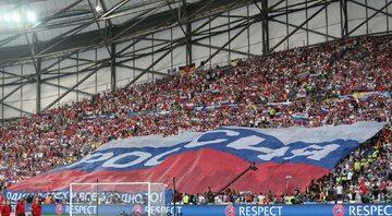 Flaga Rosji na stadionie