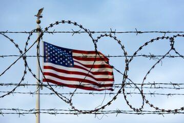 Flaga USA na granicy