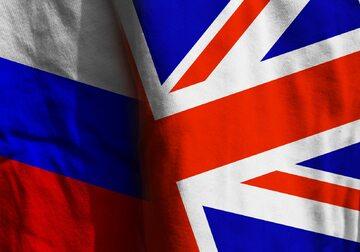 Flagi Rosji i Wielkiej Brytanii