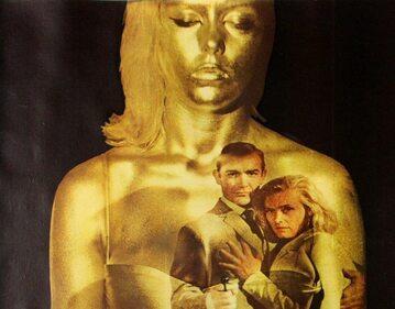 "Fragment plakatu promującego film ""Goldfinger"""