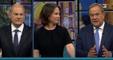 Fragment telewizyjnej debaty przedwyborczej. Od lewej: Olaf Scholz, Annalena Baerbock i Armin Laschet
