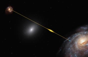 FRB podróżuje przez kosmos i dociera do Ziemi, zdjęcie ilustrujące zjawisko
