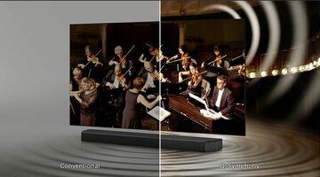 Funkcja Q-Symphony Samsunga łączy moce telewizora i soundbara, tworząc harmonijne doświadczenie audiowizualne, z naciskiem na wysoką jakość dźwięku Źródło: https://hdtvpolska.com/samsung-q-symphony-czyli-pelna-synergia-obrazu-i-brzmienia-dedykowany-telewi