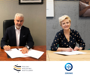 Gheorghe Marian Cristescu, prezes Grupy Kapitałowej Polskiego Holdingu Hotelowego i Anna Janiczek, prezes zarządu PZU Zdrowie