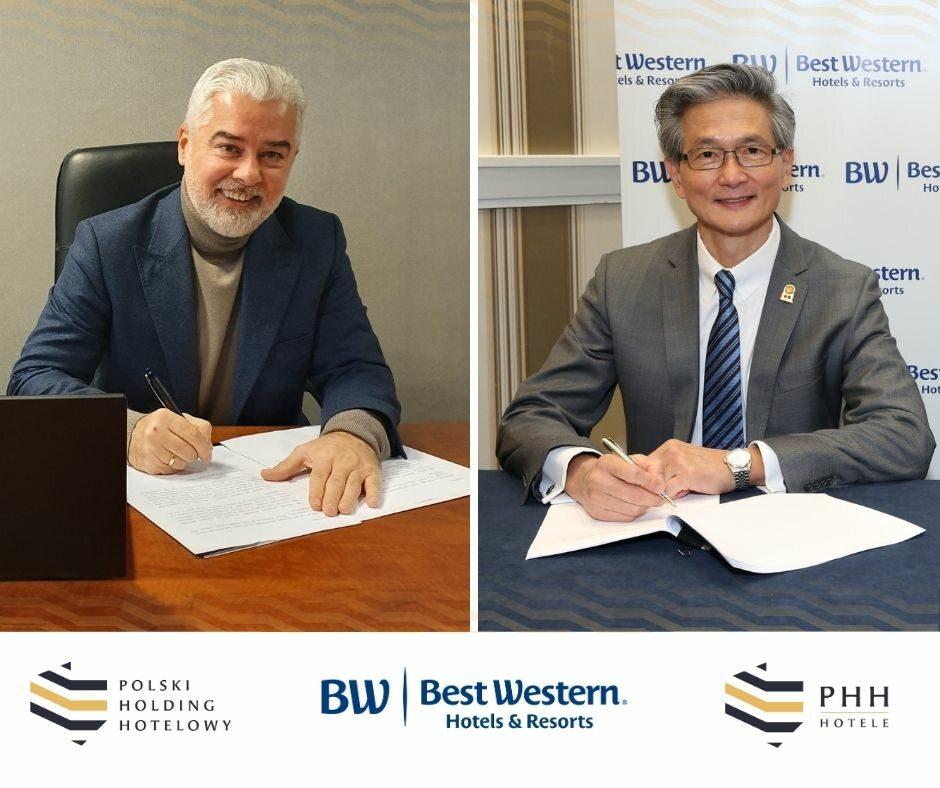 Gheorghe Marian Cristescu, prezes Grupy Kapitałowej Polskiego Holdingu Hotelowego i David Kong, prezes i dyrektor generalny Best Western Hotels & Resorts