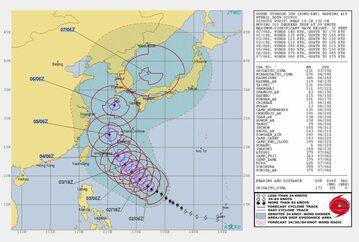 Grafika przedstawiająca trasę przejścia tajfunu Kong-rey