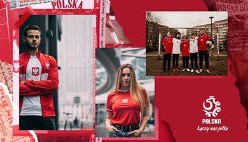 Grafika reklamująca nowe koszulki reprezentacji Polski