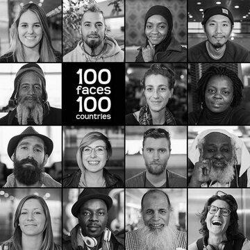"""Grafika reklamująca projekt """"100 twarzy 100 krajów"""""""