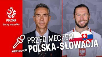 Grafika zapowiadająca konferencję prasową Paulo Sousy i Grzegorza Krychowiaka