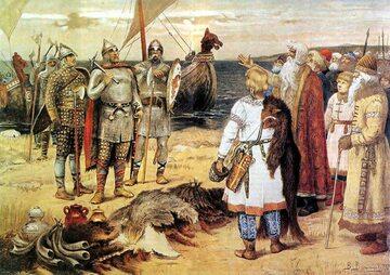 Ilustracja przedstawiająca spotkanie Wikingów ze Słowianami