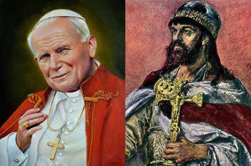 Jan Paweł II - obraz Zbigniewa Kotyłło, Mieszko I - obraz Jana Matejki