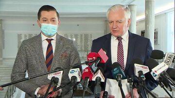 Jan Strzeżek i Jarosław Gowin podczas konferencji