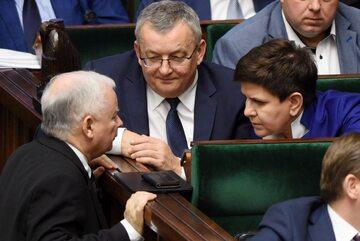 Jarosław Kaczyński i Beata Szydło w Sejmie