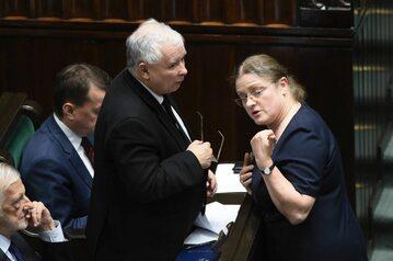 Jarosław Kaczyński i Krystyna Pawłowicz w Sejmie