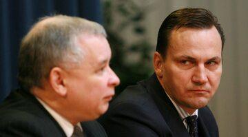 Jarosław Kaczyński i Radosław Sikorski w 2006 roku