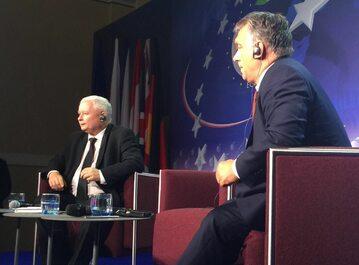 Jarosław Kaczyński i Wiktor Orban podczas debaty w Krynicy