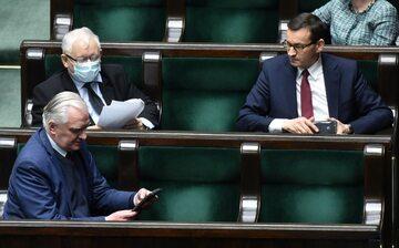 Jarosław Kaczyński, Mateusz Morawiecki i Jarosław Gowin