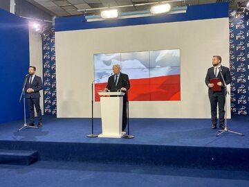 Jarosław Kaczyński na konferencji prasowej