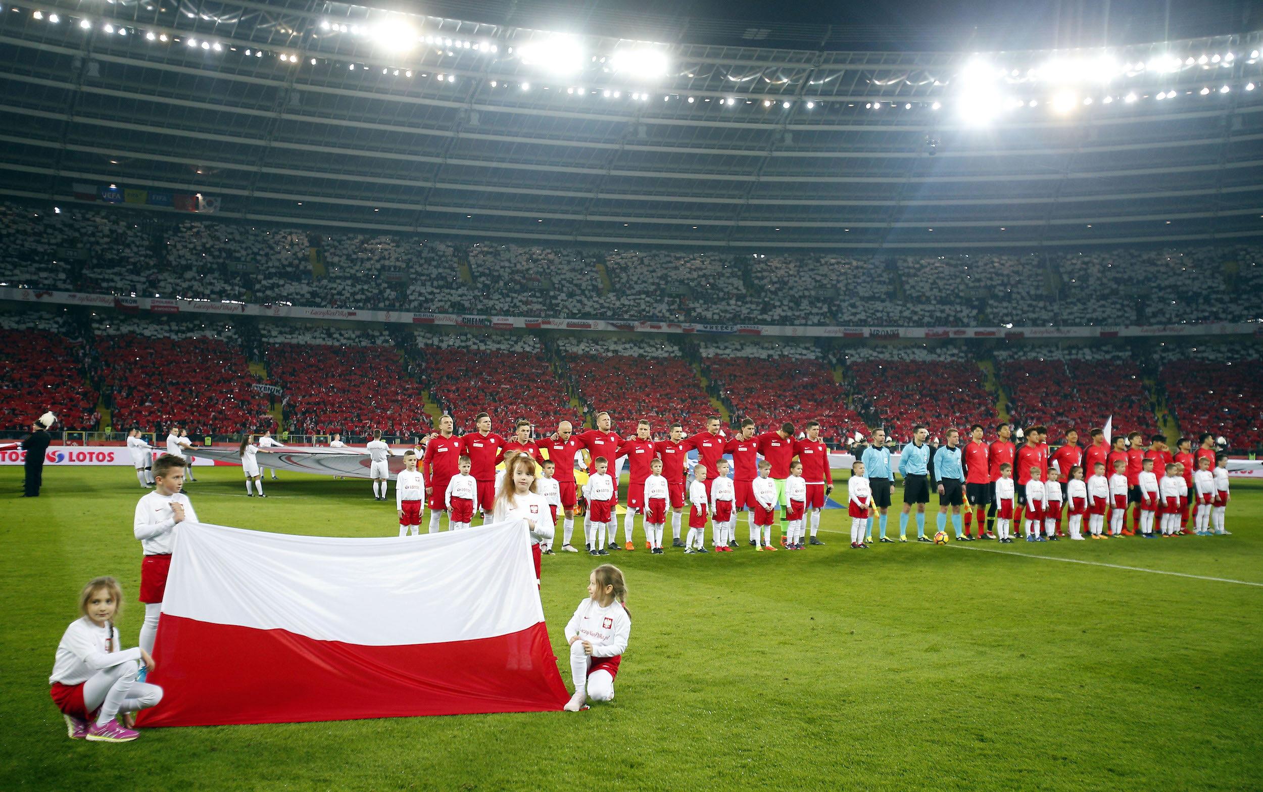 Kadr przed meczem Polska - Korea Płd. na Stadionie Śląskim (marzec 2018 r.)