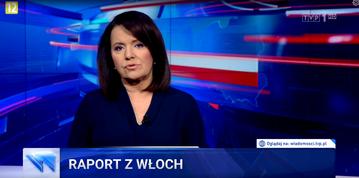"""Kadr z materiału """"Raport z Włoch"""", Wiadomości TVP"""