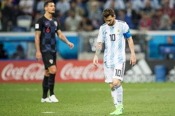 Kadr z meczu Argentyna - Chorwacja