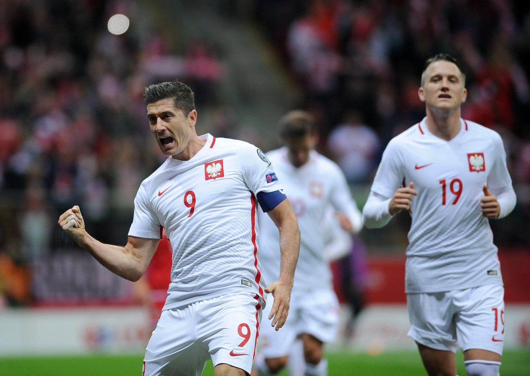 Kadr z meczu Polska - Dania